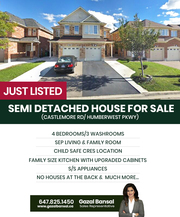 Just Listed - Semi Detached House for Sale